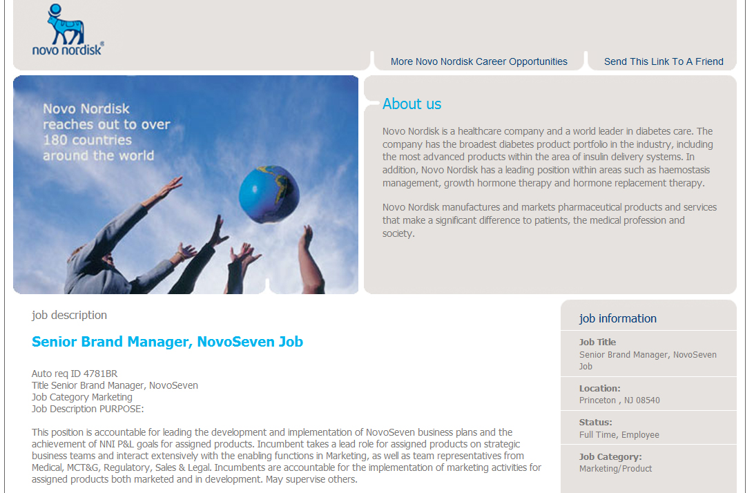 NovoSeven Sr Manager Job Posting Biz as Usual: Novo Nordisk Settles re NovoSeven, Seeks Brand Manager