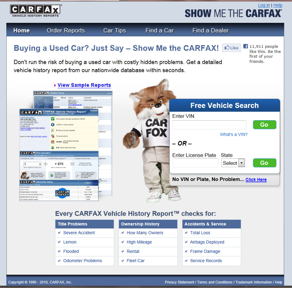 Free Vehicle History Report Online >> Carfax Consumer Fraud You Be The Judge