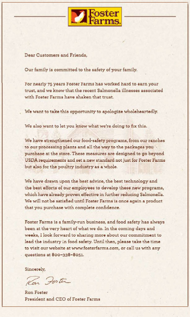 Foster Farms Apology letter