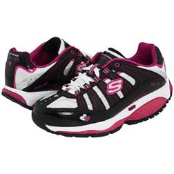 Skechers Shape Ups Toners Black Silver Ladies Shoe